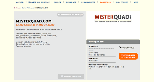 Boutique MisterQuad LeBonCoin